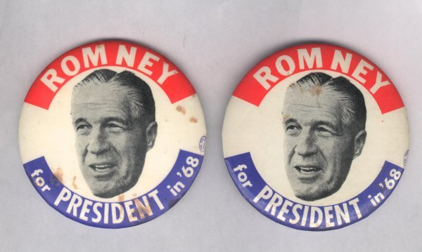 1B: 2 Large Political Pins: Romney for President