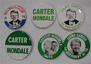 6 Political Buttons: Carter-Mondale