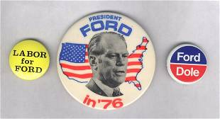 3 Political Pin Backs: Gerald Ford