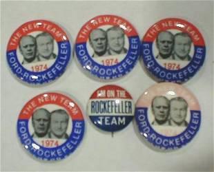 6 Political Buttons: Ford - Rockefeller