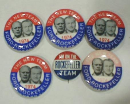 9: 6 Political Buttons: Ford - Rockefeller