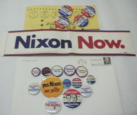 10: 17 Political Buttons, Tab & Bumper Sticker: Nixon