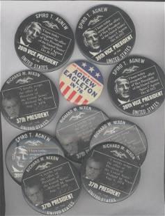 10 Political Buttons: 5 Nixon & 5 Agnew