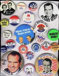 21 Pc Lot: Nixon, Lodge, Agnew, Anti-Humphrey