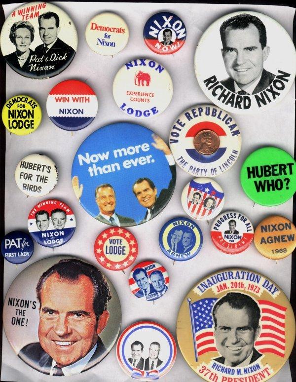 14A: 21 Pc Lot: Nixon, Lodge, Agnew, Anti-Humphrey