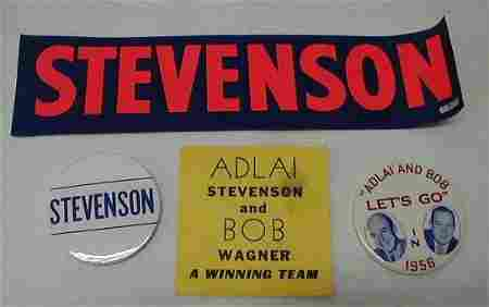 45: 2 Political Buttons: Stevenson
