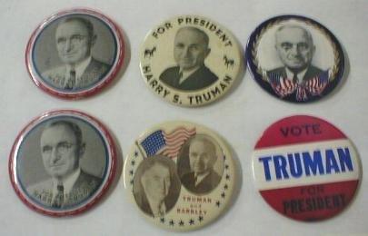52: 6 Large Political Buttons: Truman