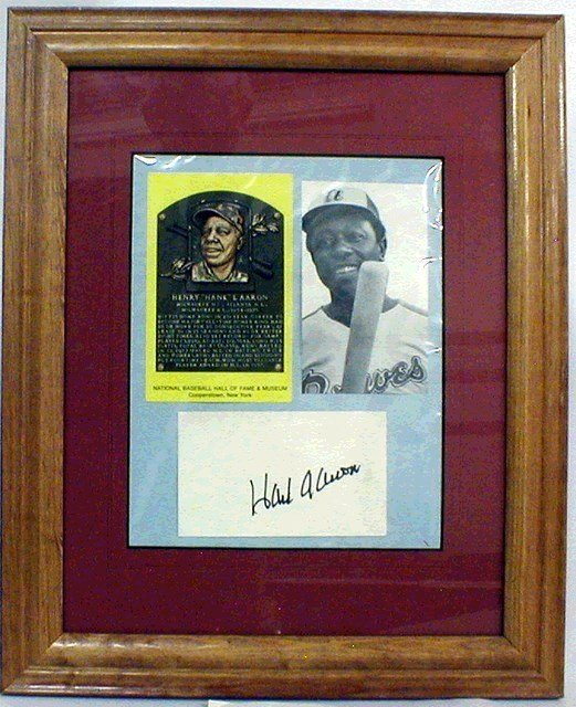 1001: HOF Hank Aaron Framed & Matted Photo & Autograph