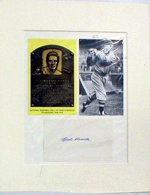 1006: HOF Earl Averill Matted Photograph & Autograph