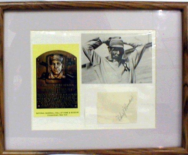 1012: HOF 'Chief' Bender Framed Photograph & Autograph