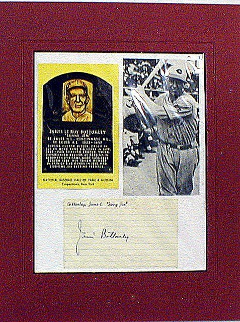 1014: HOF Sunny Jim Bottomley Matted Photo & Autograph