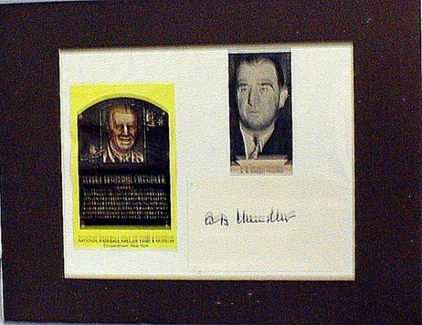 1019: HOF Max Happy Chandler Matted Photo & Autograph