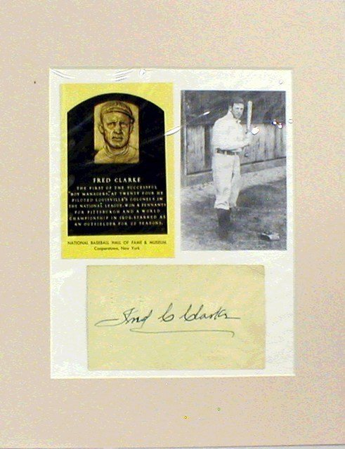 1020: HOF Fred Clarke Matted Photograph & Autograph