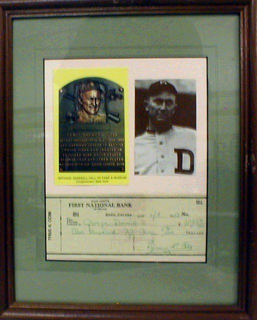 1022: HOF Ty Cobb Framed/Matted Photo & Cancelled Check