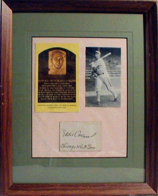 1024: HOF Eddie Collins Framed Photograph & Autograph
