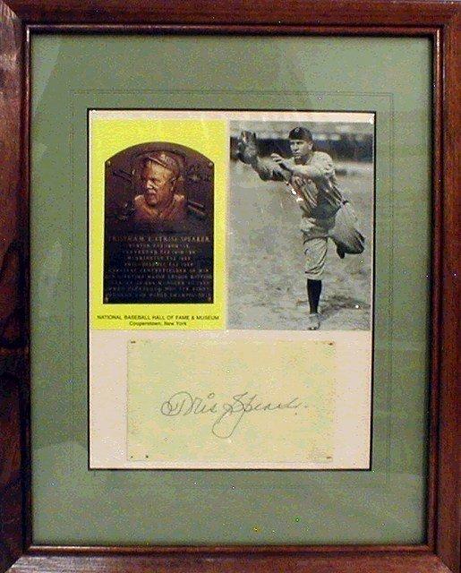 1107: HOF Tris Speaker Framed Photograph & Autograph