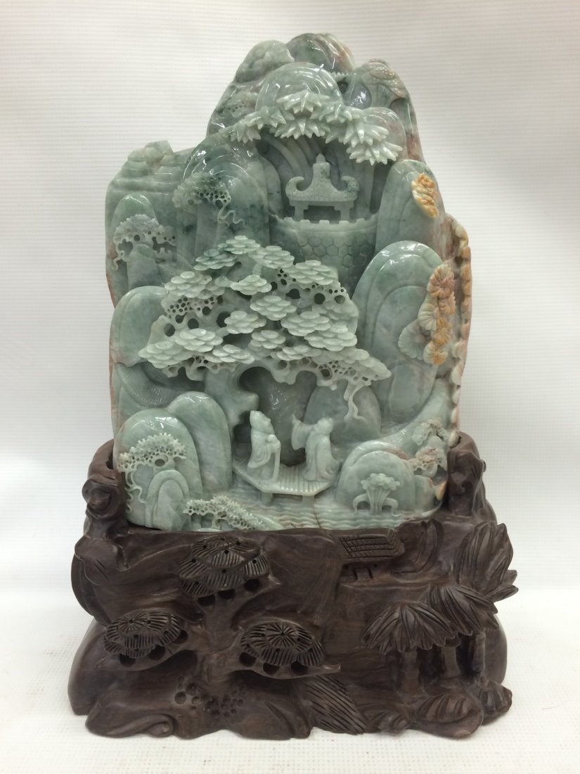 Carved Jade Mountain With People
