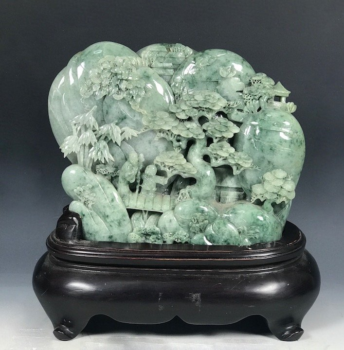 Carved Green Jade Mountain with People with Wood Stand