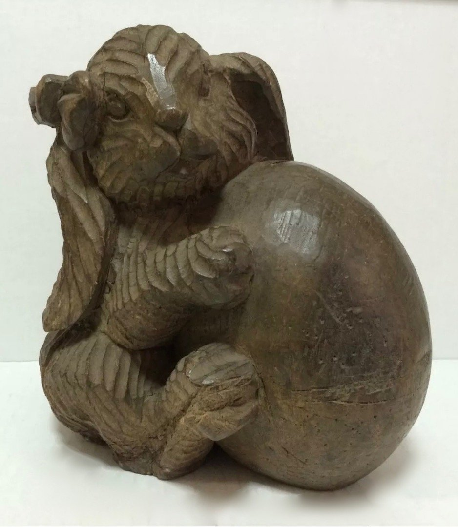 Carved Wood Rabbit Paper Mache Mold/Pattern