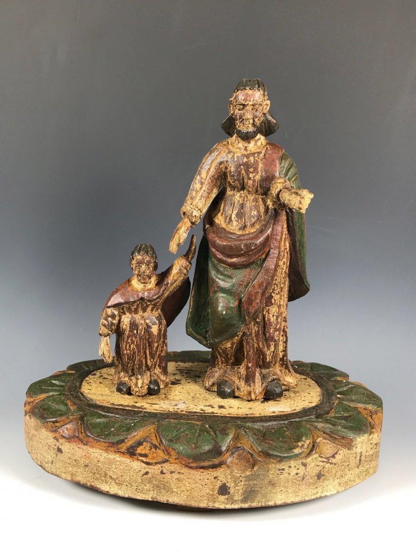 Carved Wood Religious Saint Joseph and Baby Jesus