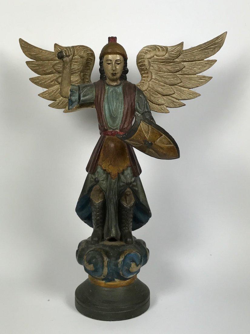 Carved Wood Archangel Statue
