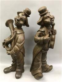 Pair of Carved Wood Clowns