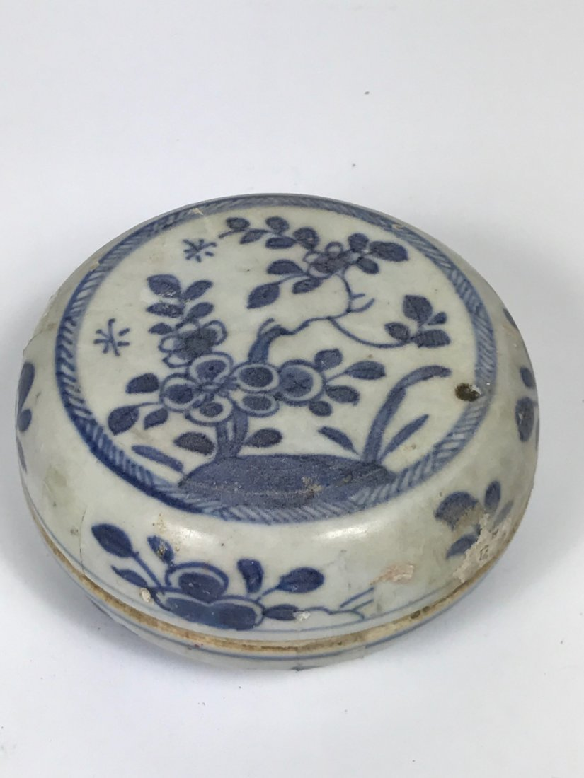 Blue and White Porcelain Pill Box