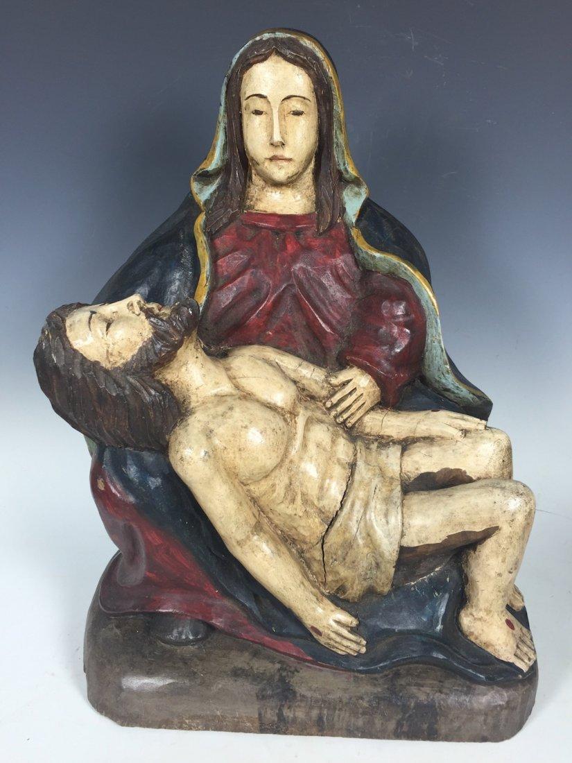 Carved Wood Pieta Statue