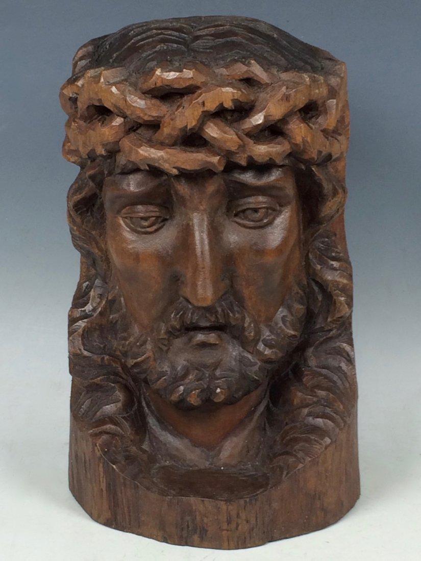 Carved Wood Christ Head