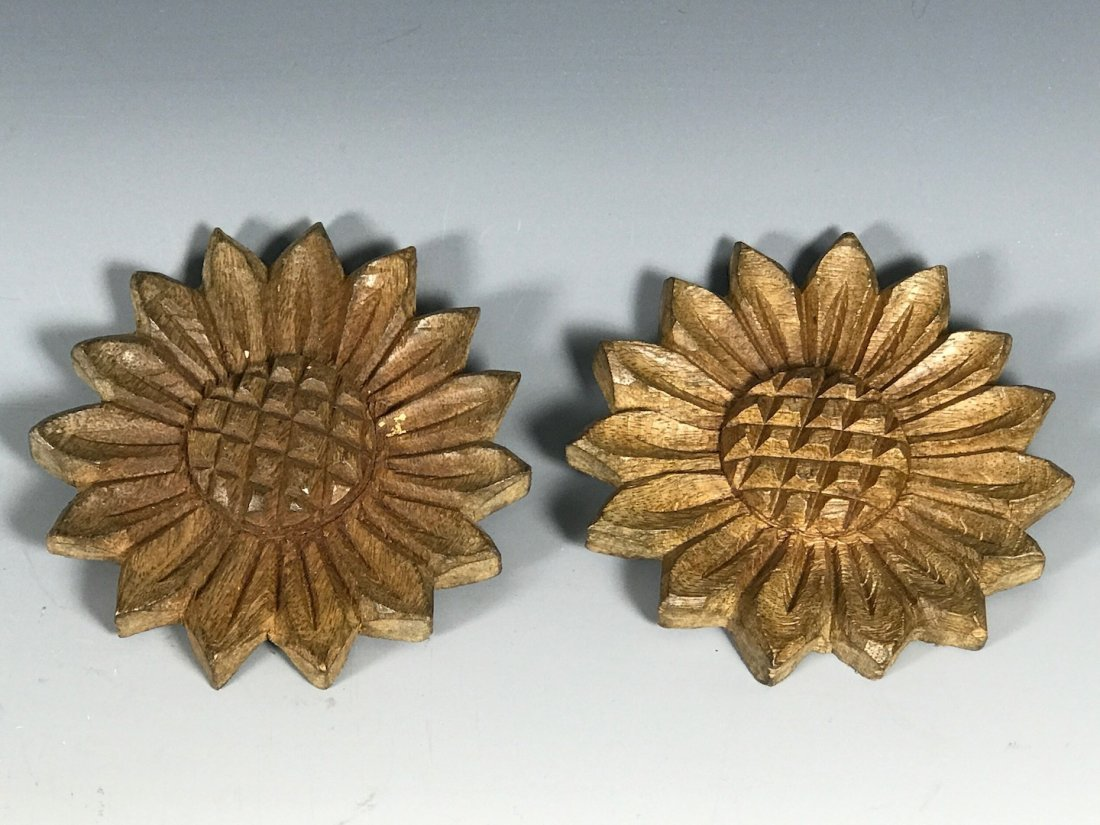 Carved Wood Paper Mache Mold- Flowers