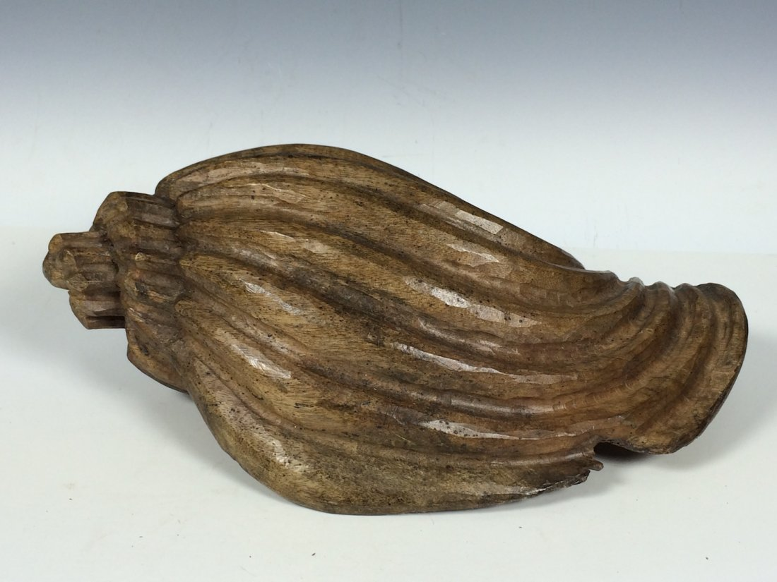 Carved Wood Paper Mache Mold - Large Shell