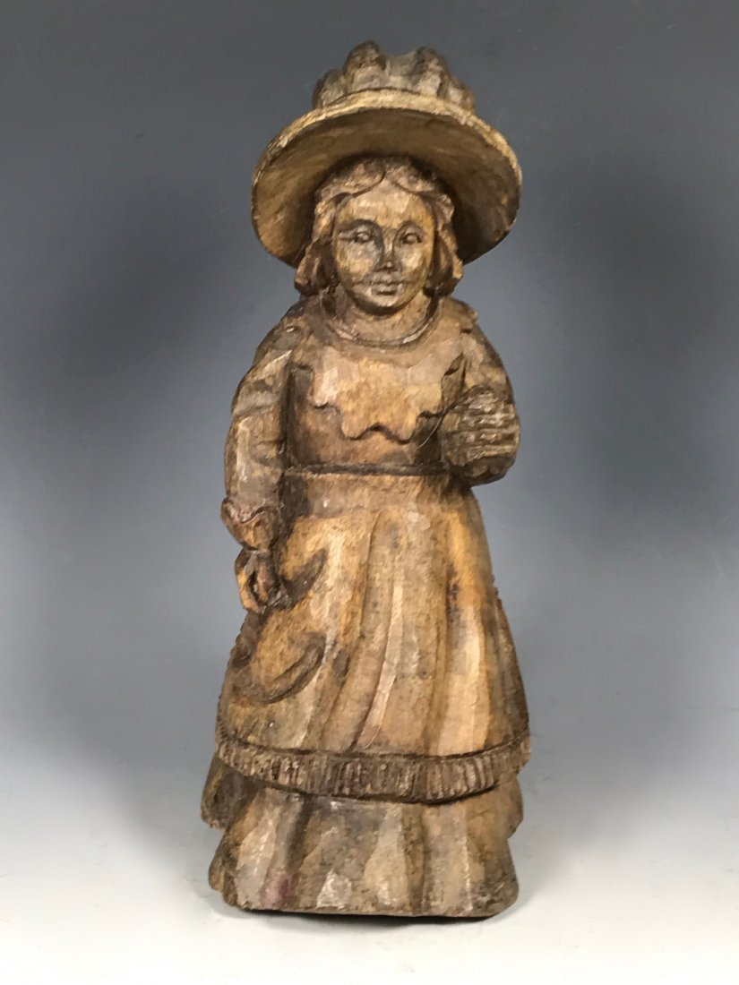Carved Wood Paper Mache Mold - Young Lady