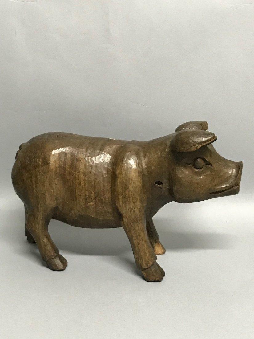 Carved Wood Paper Mache - Pig
