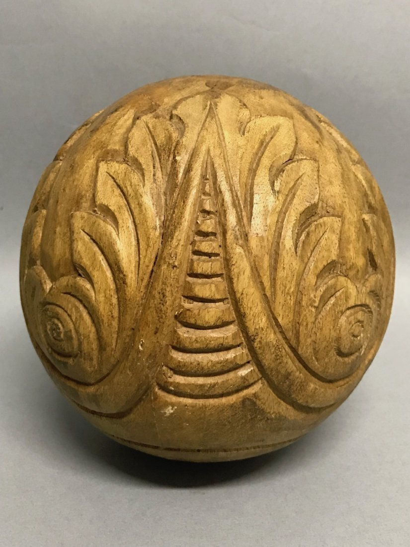 Carved Wood Paper Mache - Ball