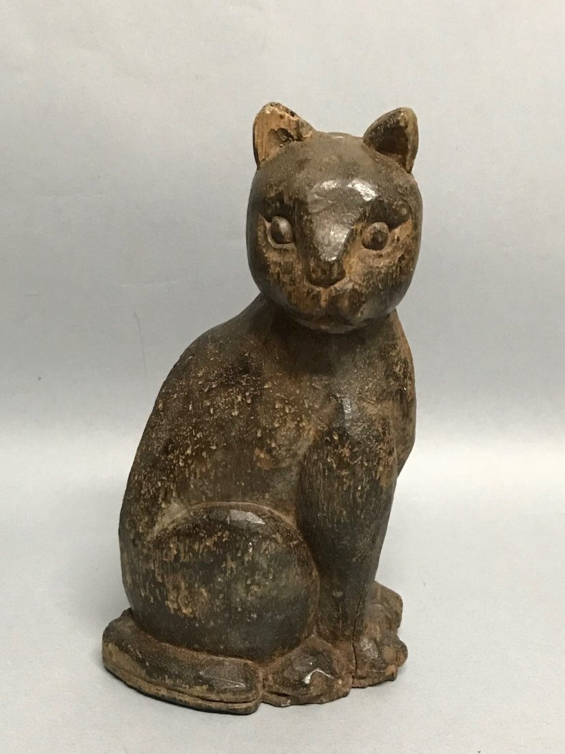 Carved Wood Paper Mache - Cat