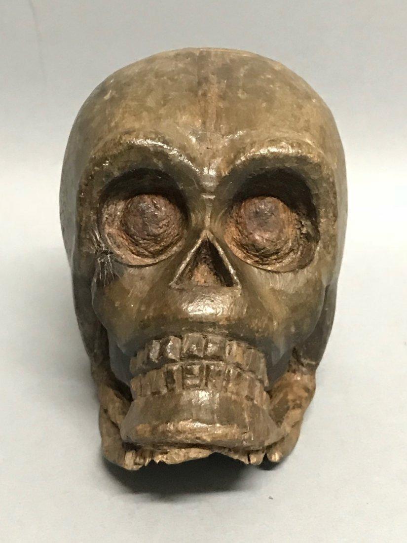 Carved Wood Paper Mache - Skull