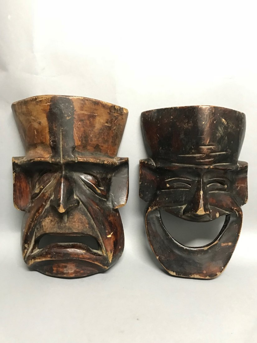 Carved Wood Paper Mache - Pair of Theater Mask