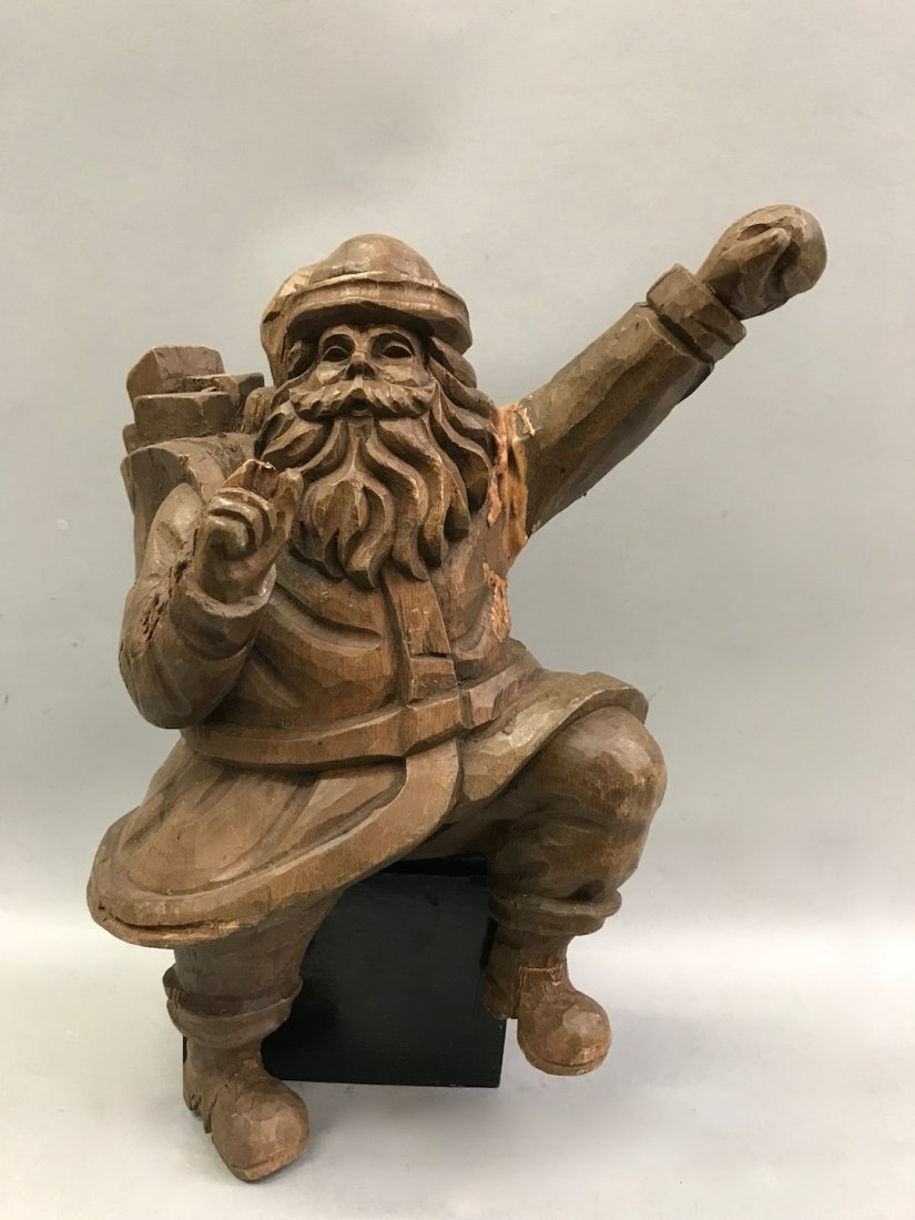 Carved Wood Paper Mache - Santa Claus