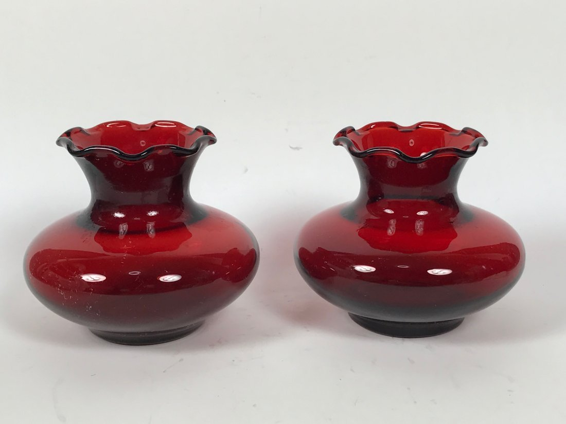 Pair of Red Glass Vase