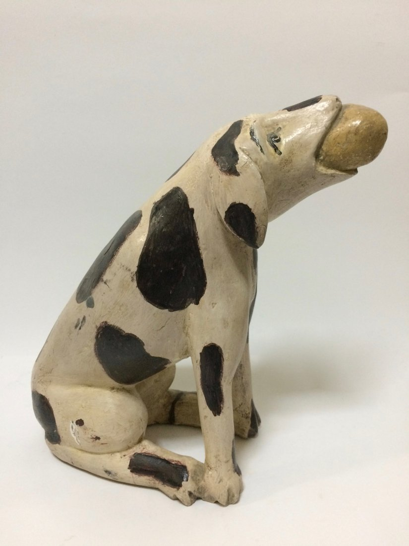 Carved Wood Painted Dog