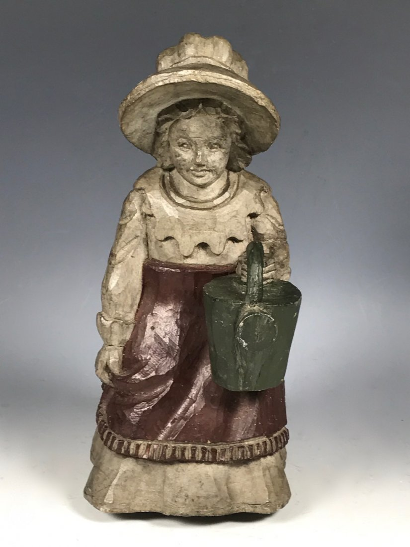 Carved Wood Painted Statue