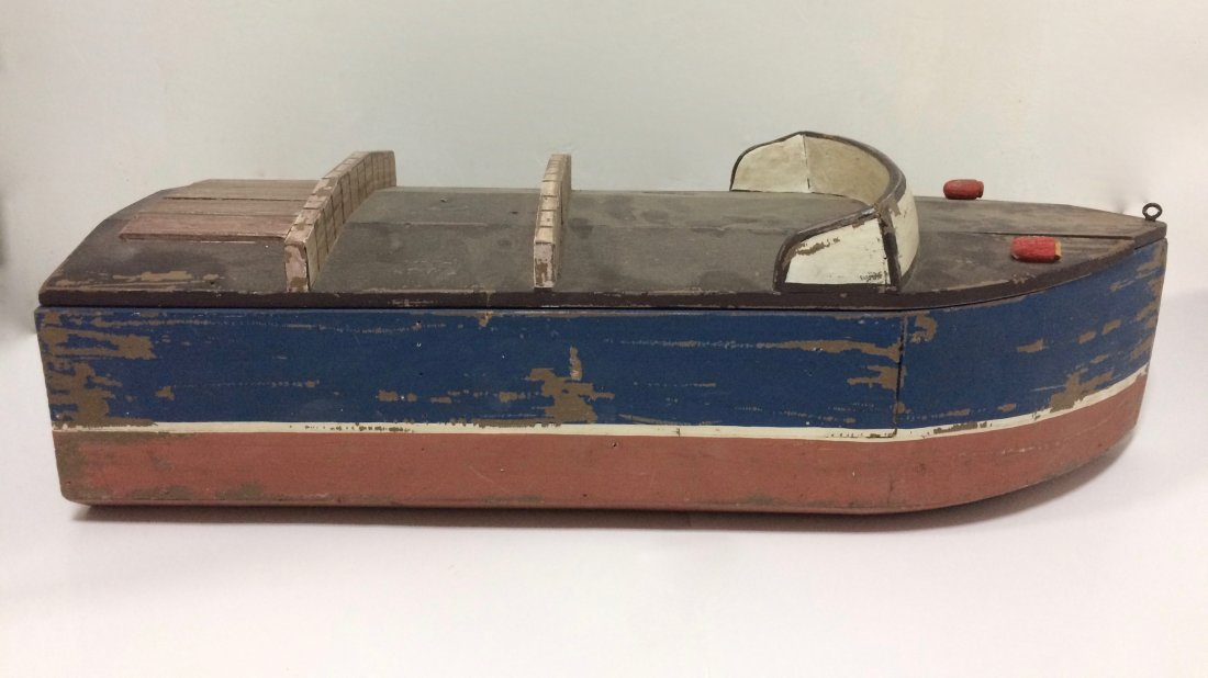Large Carved Wood Painted Boat