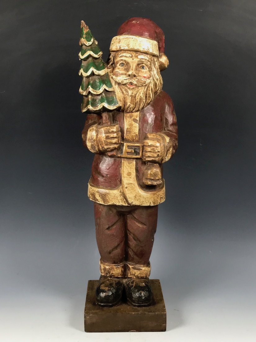 Carved Wood Painted Santa Claus