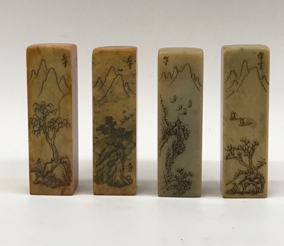 Set of 4 Yellow Soapstone Seal or Stamp