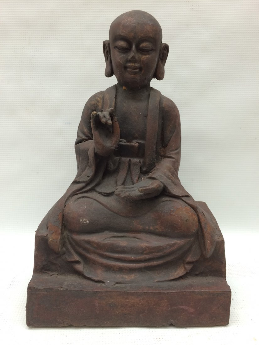 Chinese Cast Iron Sculpture of Lohan