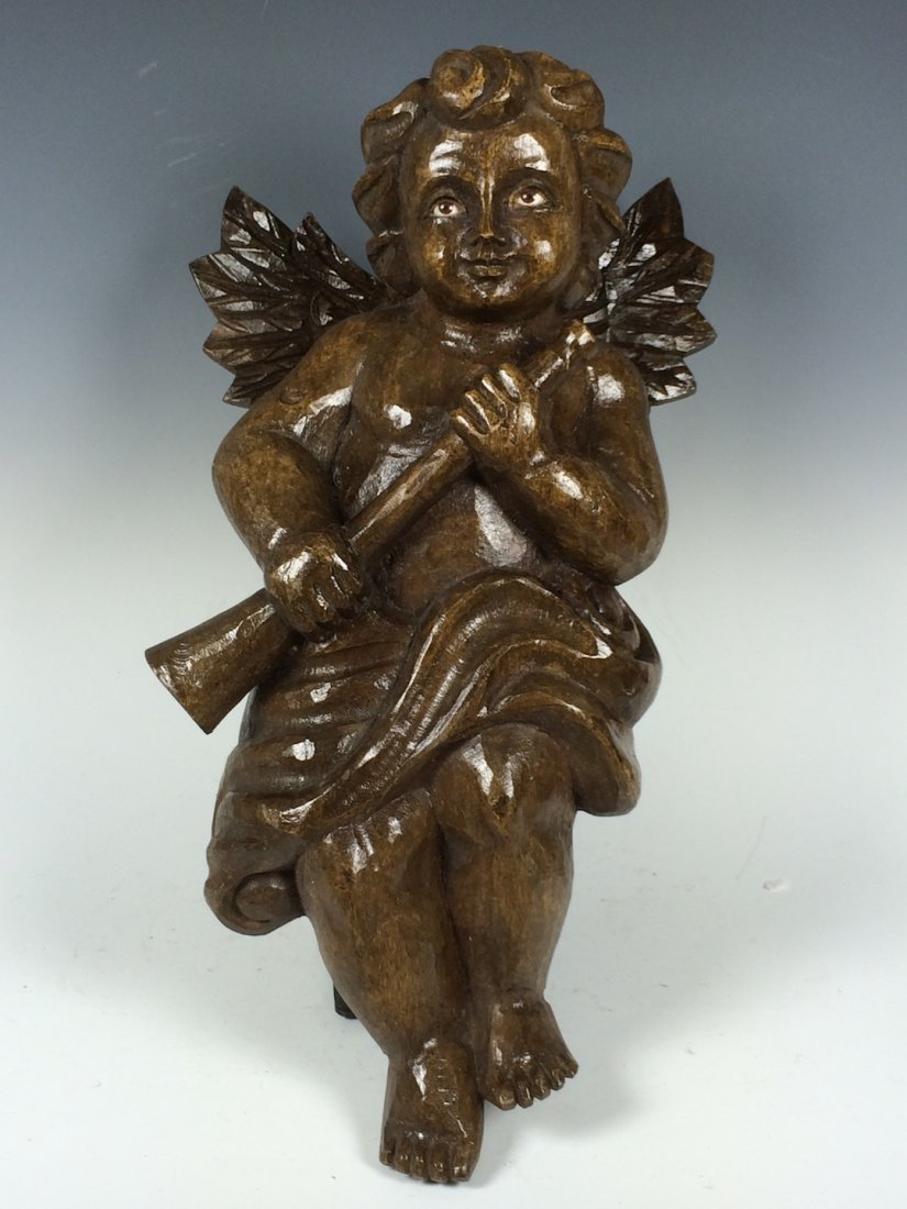 Carved Wood Angel with Metal Stand