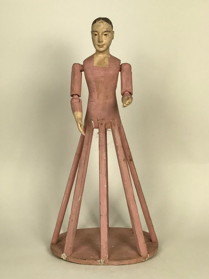 Carved Wood Mannequin Cage Doll