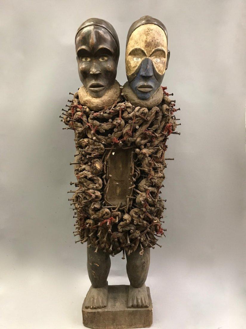 Large Bacongo Double Head Fetish Statue