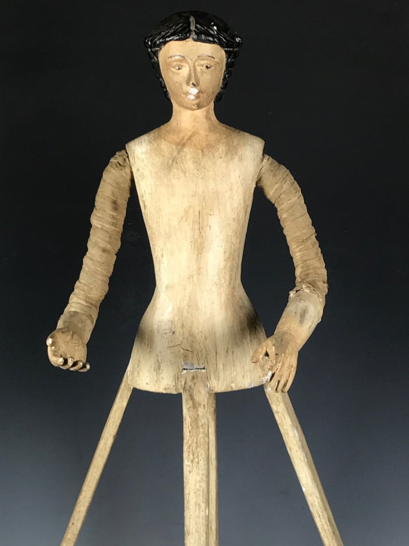 Carved Wood Mannequin Cage Doll - 2