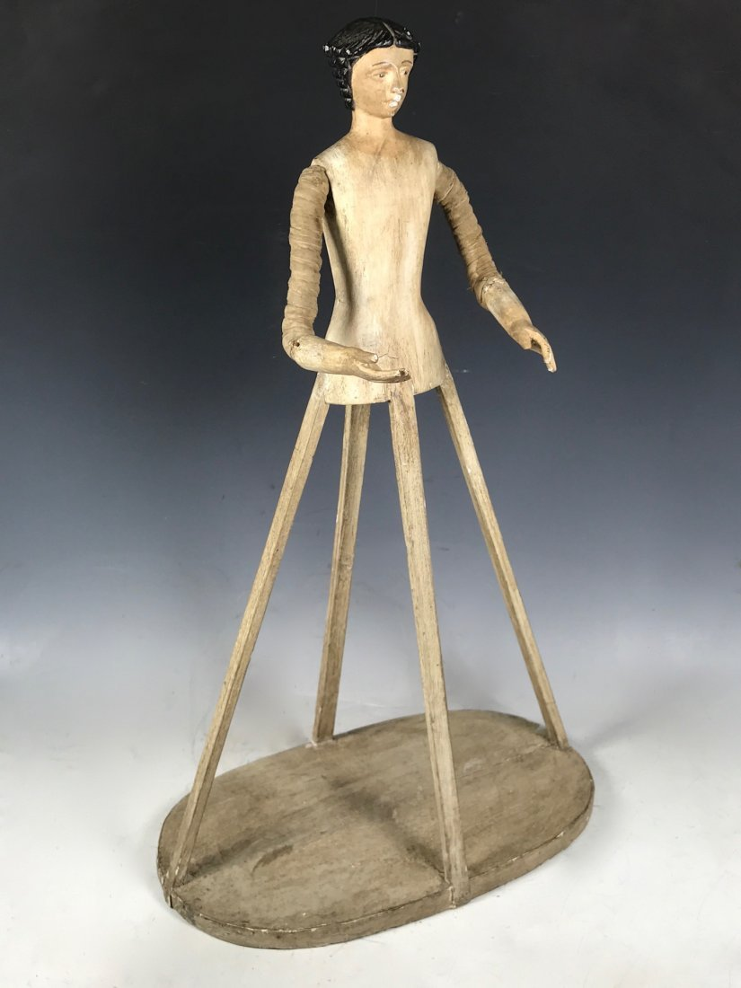 Carved Wood Mannequin Cage Doll - 3